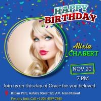 Happy birthday celebration flyer Iphosti le-Instagram template