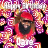 Happy birthday Сообщение Instagram template
