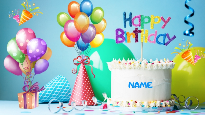 Happy Birthday Ecrã digital (16:9) template