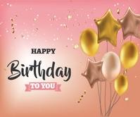 Happy Birthday Design Grote rechthoek template
