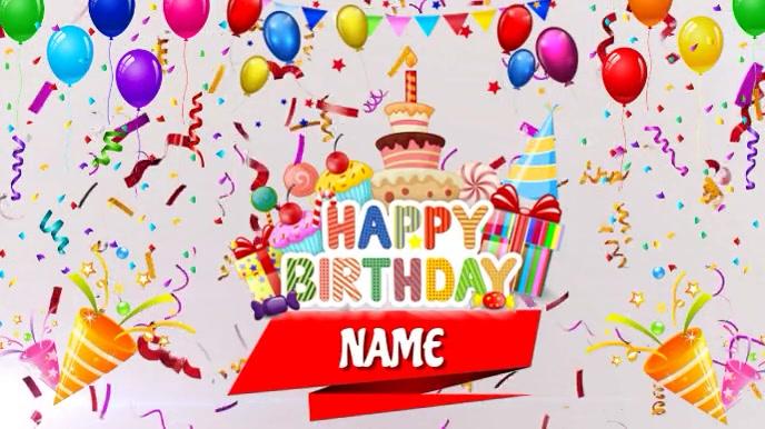 Happy Birthday 数字显示屏 (16:9) template