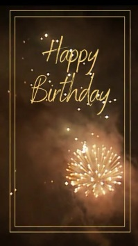 Happy birthday fireworks greeting Instagram Story template