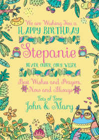 Happy Birthday Folk Owls Never Older Only Wis A6 template