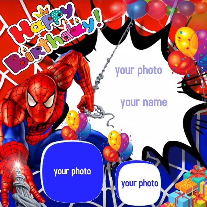 Happy Birthday frame Instagram Post template