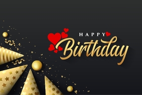 Happy birthday gold Label template