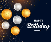 Happy birthday golden and silver balloons Large Rectangle template