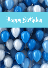 Happy Birthday Greeting Card Balloons Colored