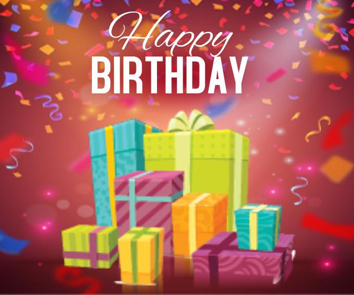 Happy Birthday Greeting Card สามเหลี่ยมขนาดกลาง template