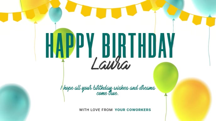 Happy birthday Greeting Card วิดีโอหน้าปก Facebook (16:9) template