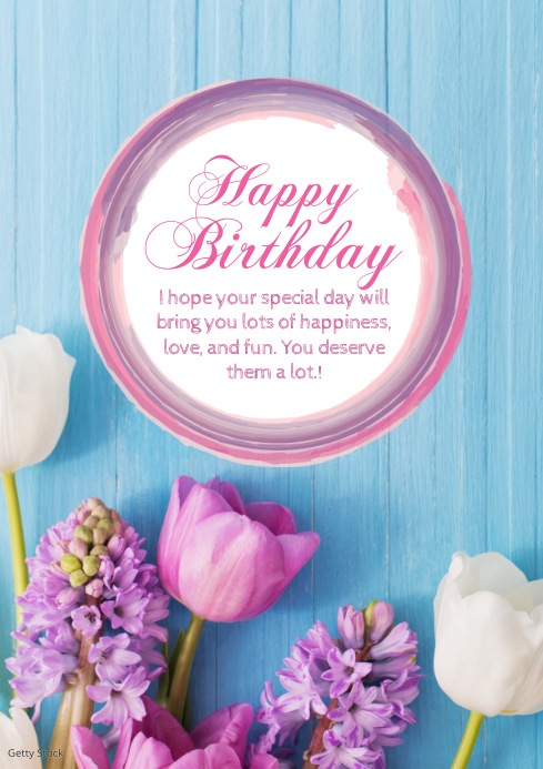 Happy Birthday Greeting Card Flowers Sun Din A4 template
