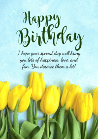 Happy Birthday Greeting Card Flowers Wishes
