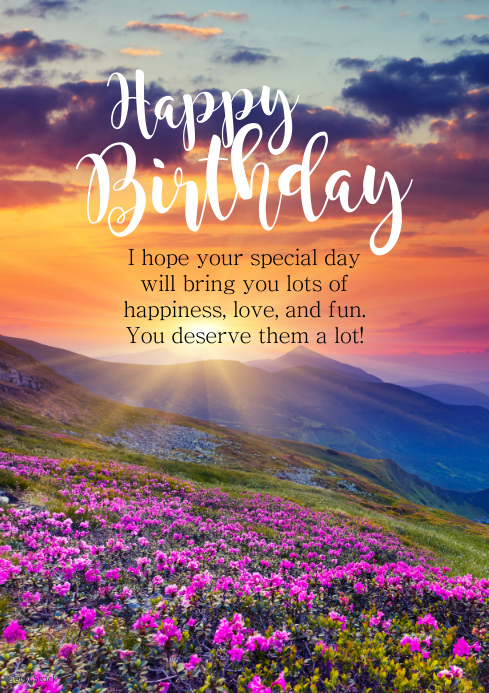 Incredible Happy Birthday Greeting Card Flowets Sun Wish Template Postermywall Funny Birthday Cards Online Alyptdamsfinfo