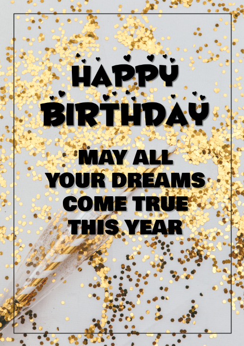 Terrific Happy Birthday Greeting Card Gold Glitter Template Postermywall Funny Birthday Cards Online Alyptdamsfinfo