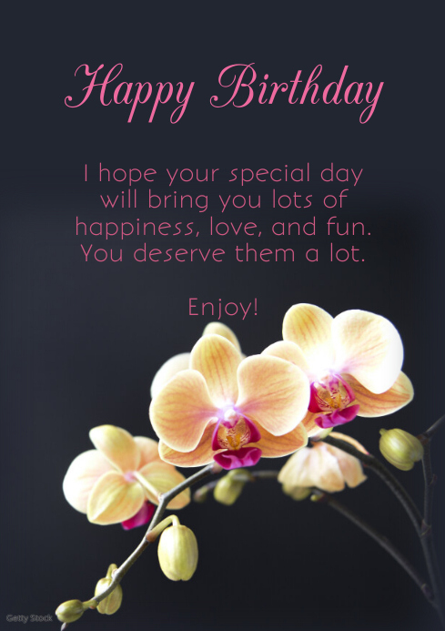 happy birthday greeting card pink flower wish template