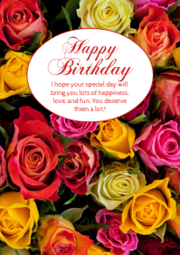 Happy Birthday Greeting Card Roses Flowers