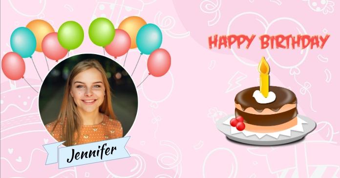 Happy Birthday Greeting รูปภาพที่แบ่งปันบน Facebook template