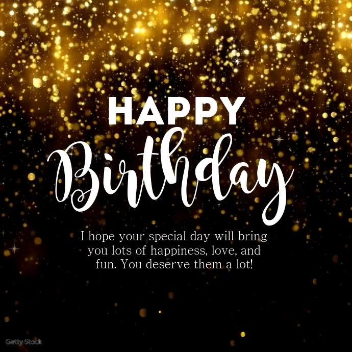 Happy Birthday Greeting Video Name Glam Gold Square (1:1) template