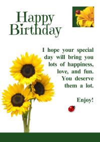 Happy Birthday Greetings Ladybird Sunflower