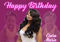 Happy birthday gril picture card Postal template