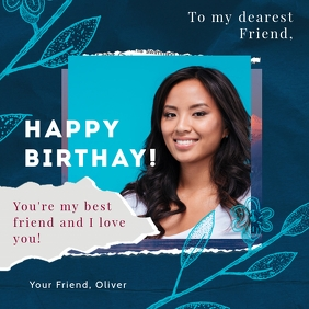 Happy birthday instagram post greeting card template