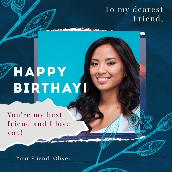 Happy birthday instagram post greeting card template