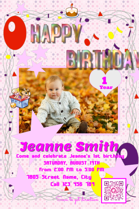 Remarkable Happy Birthday Invitation Card Postermywall Template Postermywall Funny Birthday Cards Online Fluifree Goldxyz