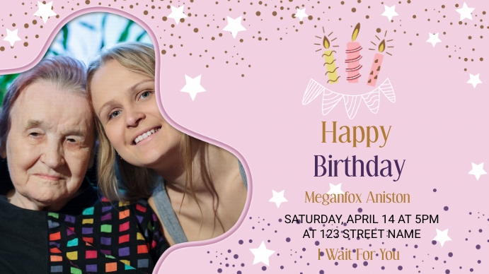 Happy Birthday Invitation Template Pantalla Digital (16:9)