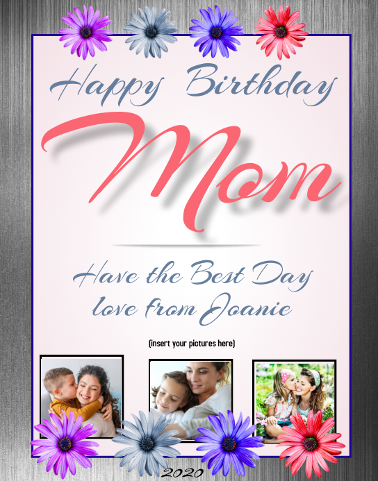 Happy Birthday Mom Plakkaat/Muurbord template