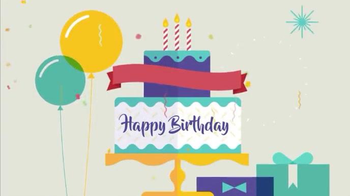 Happy birthday motion video Digitalt display (16:9) template