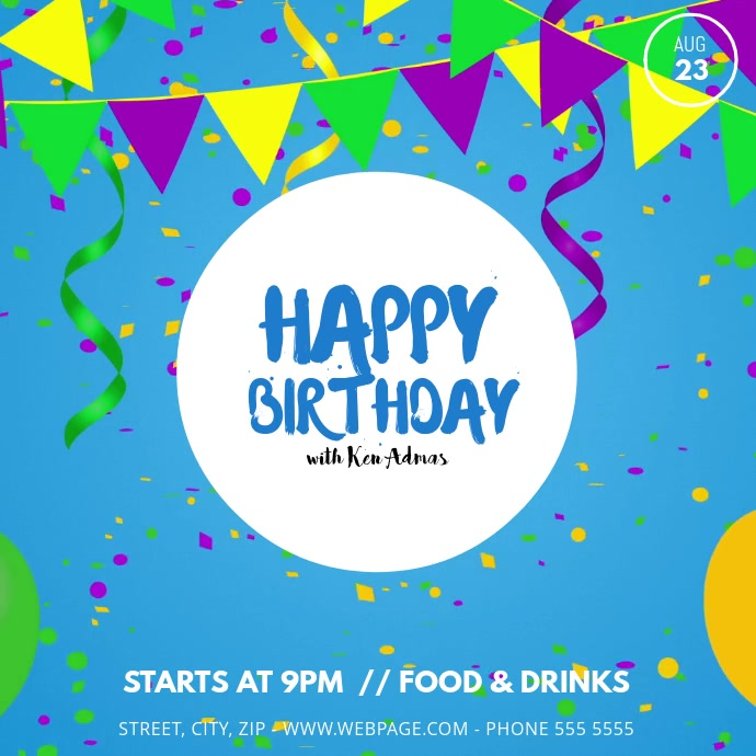 Happy birthday party video ad template