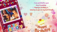 Happy Birthday photoFrame With Message viedo Digital Display (16:9) template