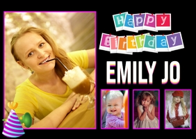 Happy Birthday picture photo collage flyer Postcard template
