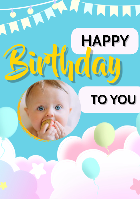 happy birthday poster A3 template