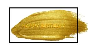 Happy Birthday Premium Poster Template Vídeo de portada de Facebook (16:9)