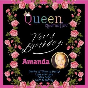 HAPPY BIRTHDAY Queen Quarantine Сообщение Instagram template