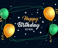 Happy Birthday Realistic Balloons card design Large Rectangle template
