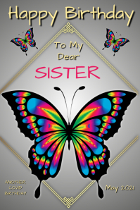 Happy Birthday Sister Poster template