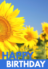 Happy Birthday sunflower greeting card wishes A4 template