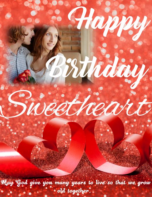 Happy birthday Sweetheart ใบปลิว (US Letter) template