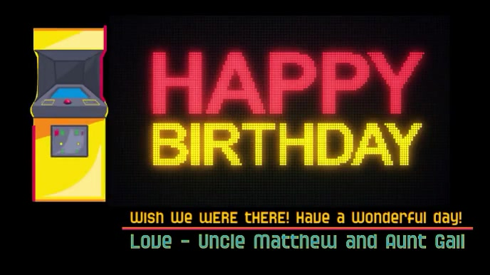 Happy Birthday Video Game Lover Digital Display (16:9) template