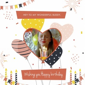 Happy Birthday Video Invitation Template Square (1:1)