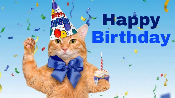 Fantastic Happy Birthday Video Party Cat With Hat Wish Template Personalised Birthday Cards Sponlily Jamesorg