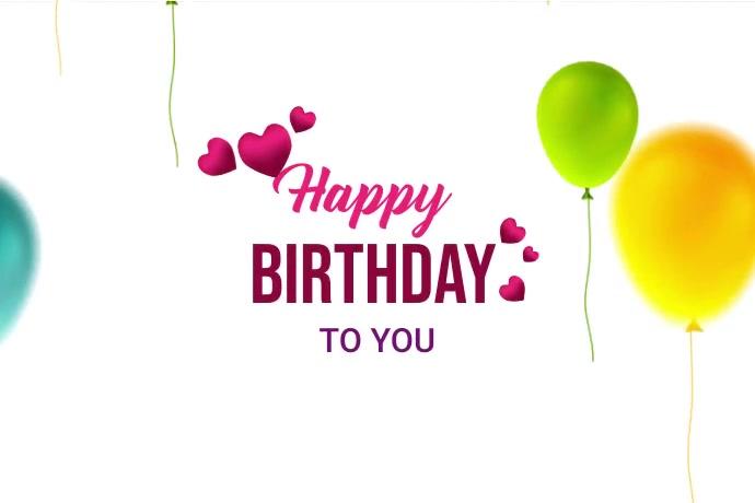 happy Birthday Video template Etiqueta
