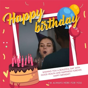 Happy Birthday Video Wish Template Square (1:1)