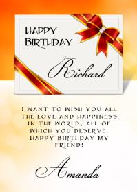 Happy Birthday Wish A6 template