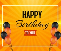 Happy Birthday wishes card background design Persegi Panjang Sedang template