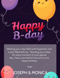 HAPPY BIRTHDAY WISHES CARD Design Template