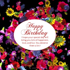 Happy Birthday Wishes Greeting Video Flowers