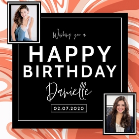 happy birthday wishes images design Template Square (1:1)