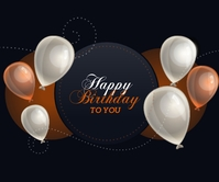 Happy Birthday with balloons Rettangolo grande template